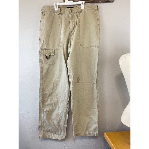 Men's Eddie Bauer 38 Tall Cargo Pants Tan Mid Rise